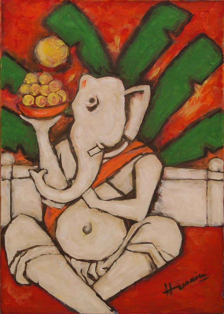 "Oil painting on canvas ""Ganpati"" by Maqbool Fida Husain depicting Hindu god Ganesha, 1999"