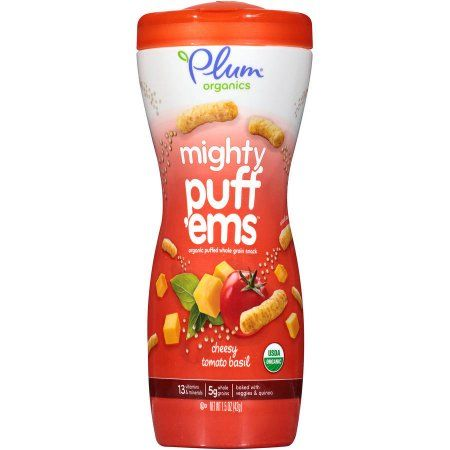 Plum Organics Mighty Puff'ems Cheesy Tomato Basil Organic Puffed Whole Grain Snack, 1.5 oz (Pack of 8)