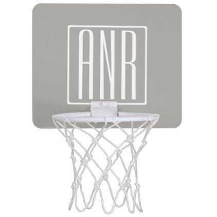 Initials Monogram   White On Light Grey Mini Basketball Backboard - initial gift idea style unique special diy