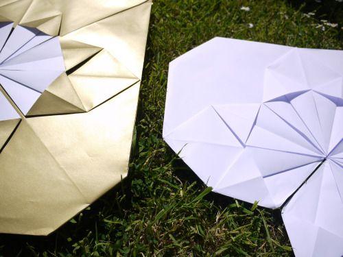 Gold + white Giant Origami Heart - handmade paper decor~Paper Street Dolls