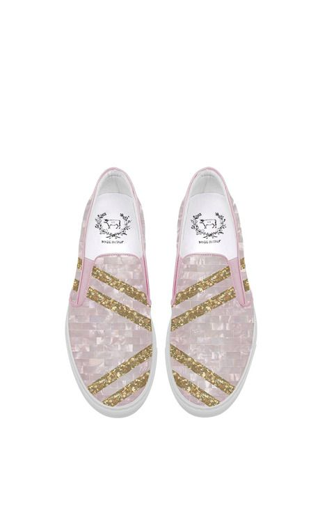 Del Toro X Edie Parker Slip-On Pink Glitter Sneaker by Del Toro for Preorder on Moda Operandi