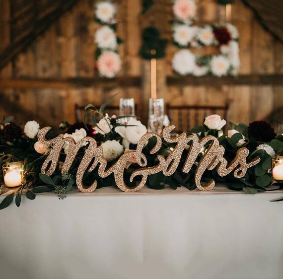 glitter mr and mrs sign for wedding sweetheart table mr and mrs rh pinterest com
