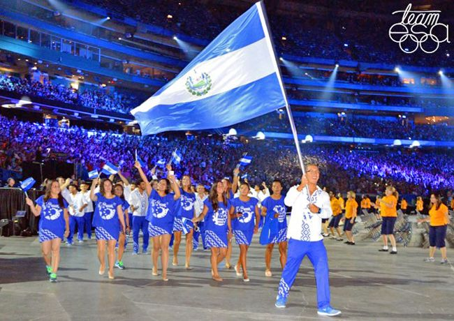 """""""A competitive athlete herself—she played beach volleyball for El Salvador from 1996 to 2010; in 1998 the team won a Central American Games gold medal—Larios was commissioned by the El Salvador Olympic Committee to create uniforms for its athletes to wear in the 2015 PanAmerican games in Toronto. She designed electric-blue and white shirts, skirts, dresses and pants with geometric patterns, featuring the dog (loyalty), toad (adaptation), turkey (battle-readiness) and fish (tenacity)"""" @PRINT"""