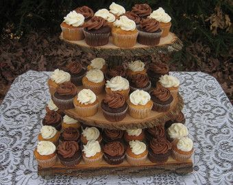 Cupcake Stand Rustic Wedding Log Slices 3 Tier
