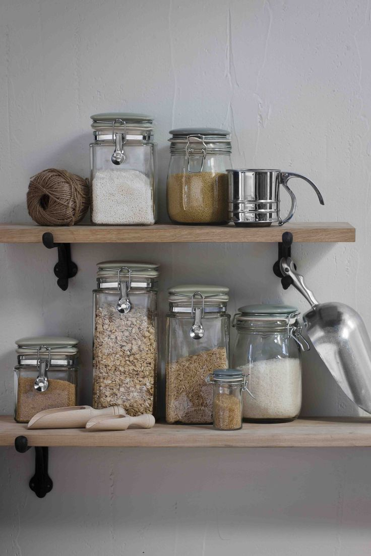 We really dislike ugly food packaging, organize your pastas and grains in glass jars instead