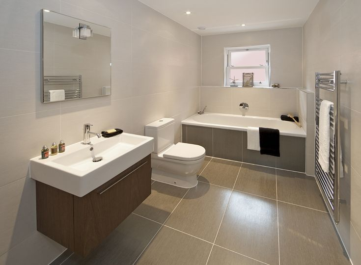Modern Family Bathroom - white / grey - large bathroom tiles