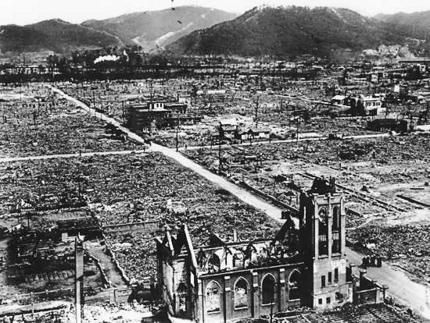 This is Hiroshima, Japan, after the Atomic Bomb, Little Boy, was dropped on the city by the U.S. The entire city was almost completely flattened. A few buildings have not been reconstructed to create a memorial to a peaceful, non-nuclear future.
