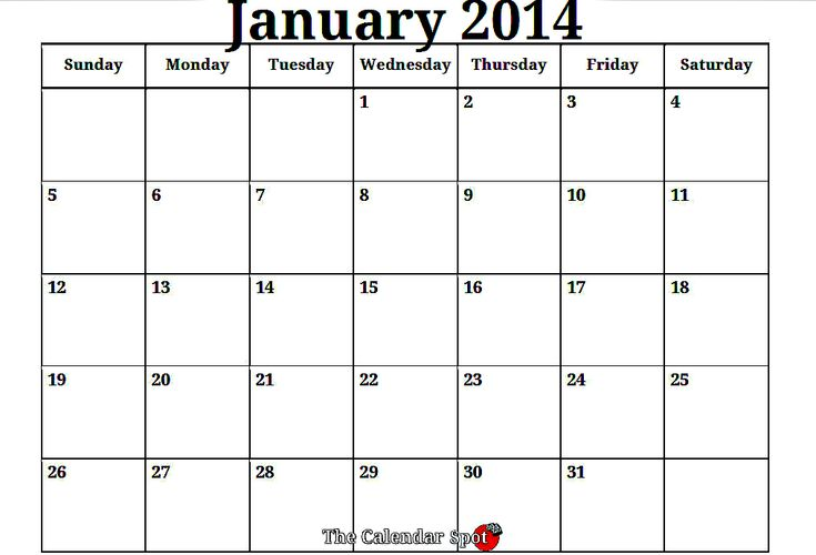 printable 2014 calendar month by month | January 2014 ...
