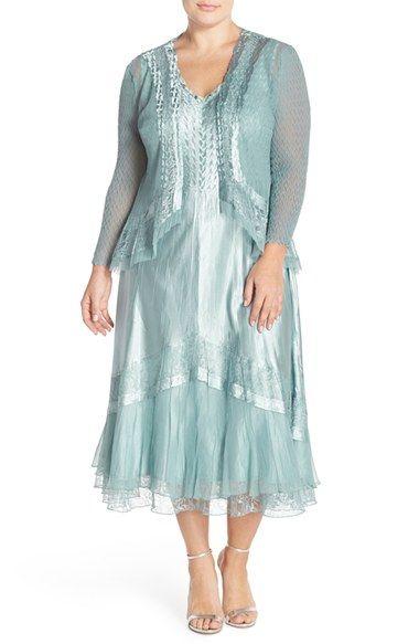 Komarov Lace Inset Charmeuse Dress & Chiffon Jacket (Plus Size) available at #Nordstrom