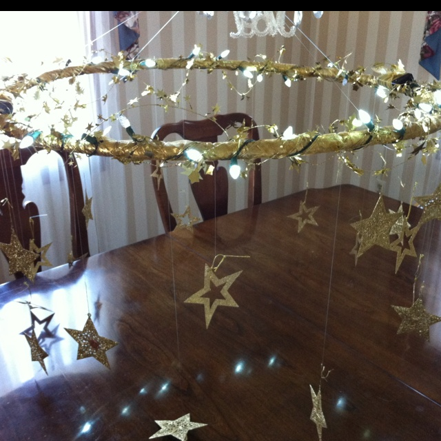 Hula-hoop chandelier for a party!