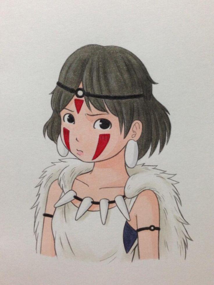 もののけ姫のサン描きました(^^)