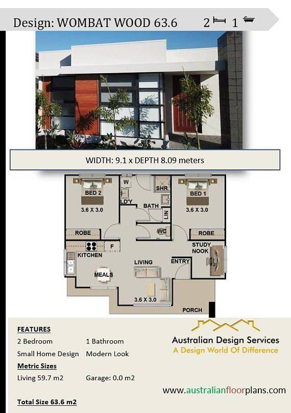 australian 2 bed study nook granny flat under 60m2 house plans rh pinterest cl