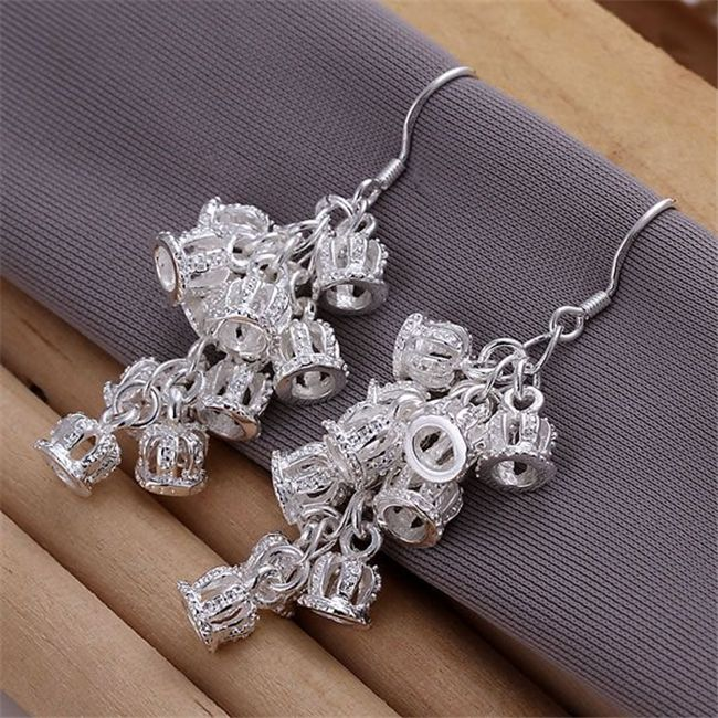ESE085 Wholesale silver plated earrings , Factory price 925 stamped fashion jewelry  Crown Earrings E085 /axqajoxa #Affiliate