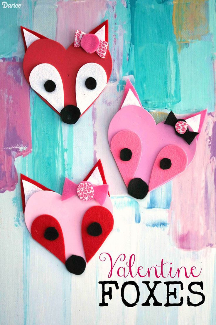 Easy valentine crafts for kindergarten - Craft Foam Valentine Foxes Kid Craft Idea