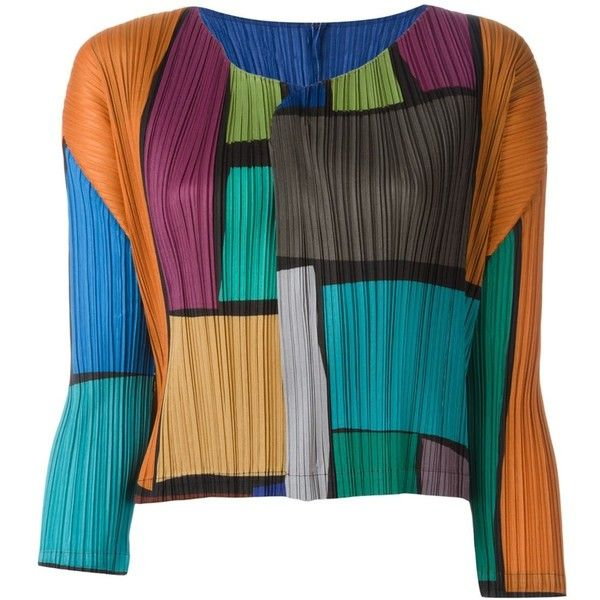 Pleats Please By Issey Miyake Colour Block Ribbed Cardigan (£260) ❤ liked on Polyvore featuring tops, cardigans, multicolour, multi color cardigan, multi color tops, color block cardigan, multi colored cardigan and colorblock top