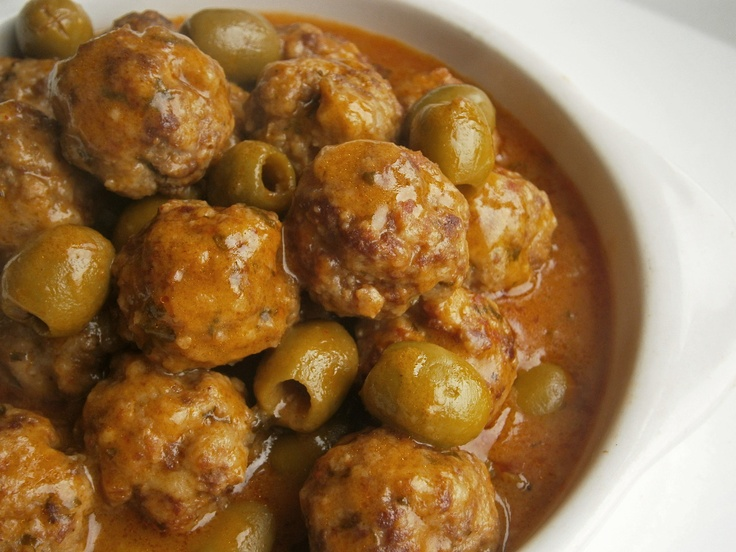 Beef and pork meatballs with olives, chilli and paprika VB Photography ...