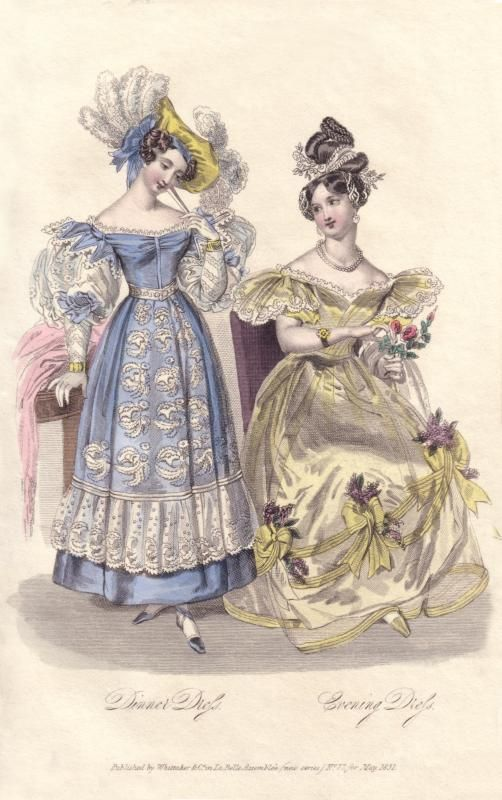 Here is a drawing or painting of two women walking around outside. Their skirts end above the ankle, dresses have demi-gigot sleeves, and they are wearing waist belts, and hats. Romantic Period.
