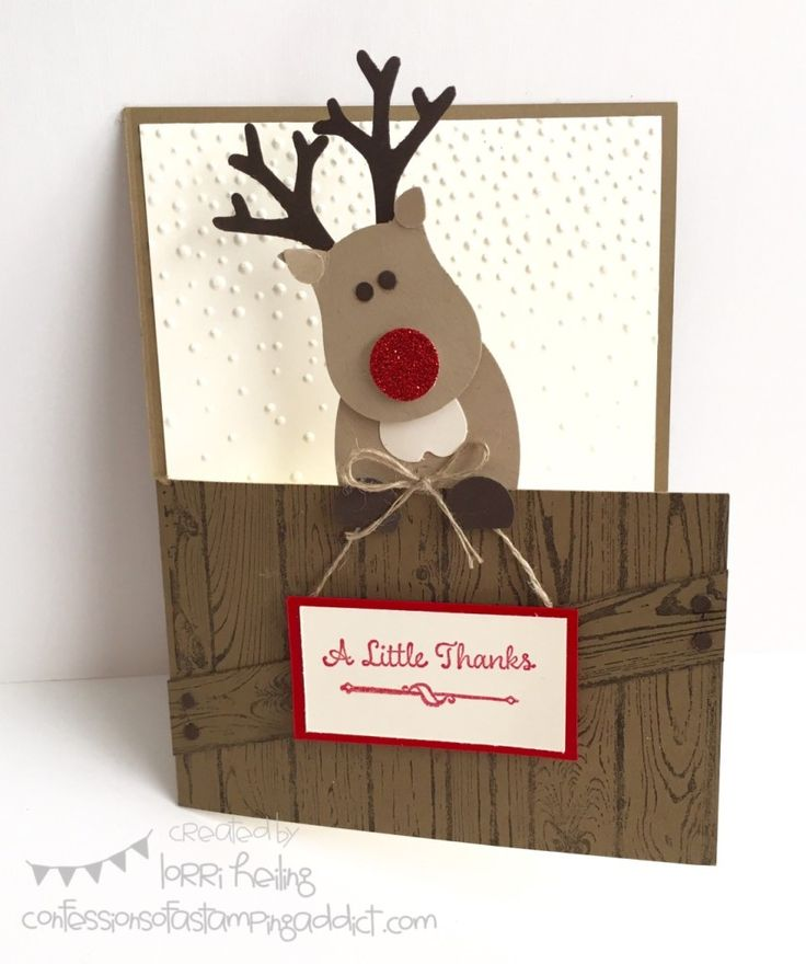 Reindeer Christmas or Thank You Card :: Confessions of a Stamping Addict Oh, What Fun! Stamp Set Lorri Heiling Stampin' Up