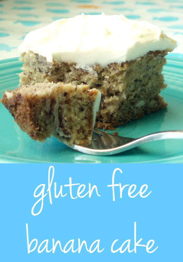 Delicious gluten free banana cake topped with fluffy cream cheese frosting. #glutenfree