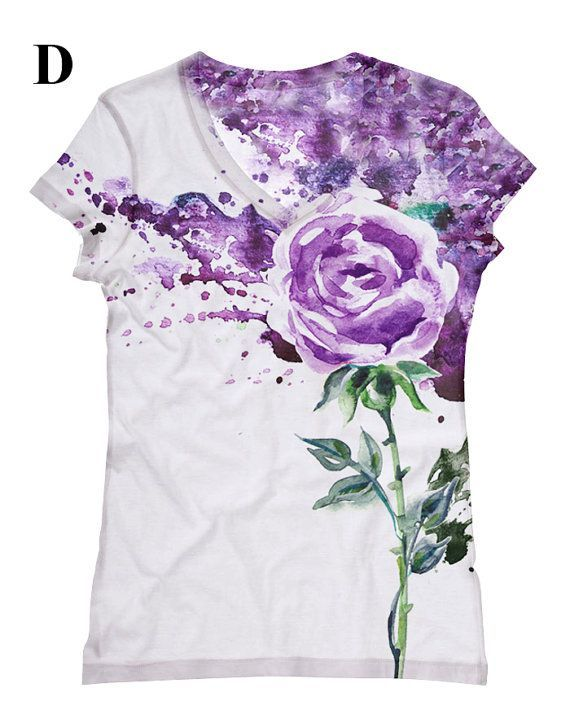 woman  purple Flower print top t shirt and tank by por hellominky