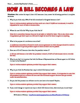How a Bill Becomes a Law Worksheet | Cool | Worksheets, How to ...