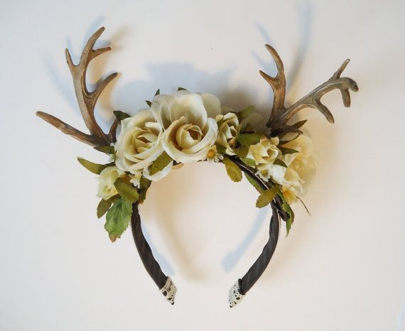 Rites of Spring Deer Antler Floral Hairpiece by sweetmildred 88a61e9b016