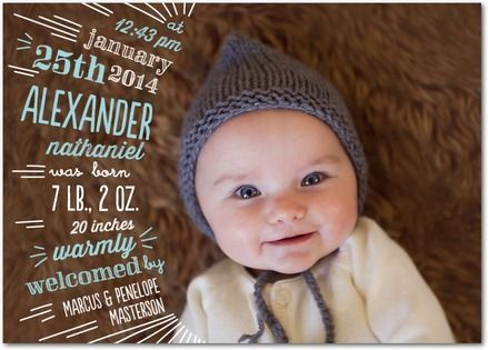 Cutely Curved: Boy Birth Announcement in Surf | Baumbirdy