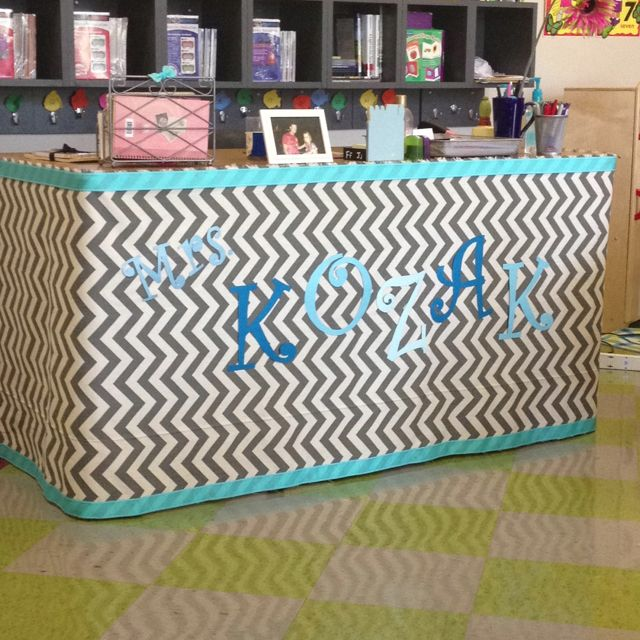 Make-over teacher's desk.... Add favorite fabric, ribbon and name! Just completed Mandi's desk and it's AWESOME!!!