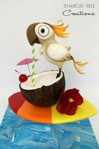Sharon Wee Creations:  Katy Parrot enjoying her cocktail. ♡♡♡♡♡  Novelty cakes.