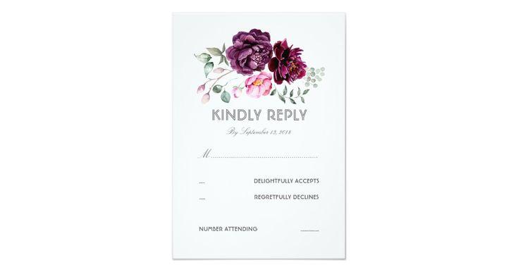 Watercolor floral bouquet boho chic plum purple wedding reply cards