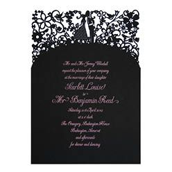 Chartula - A Little Romance Laser Cut Wedding Invitation - Pink on Ebony - Designer invitations for a luxury wedding by www.chartula.co.uk