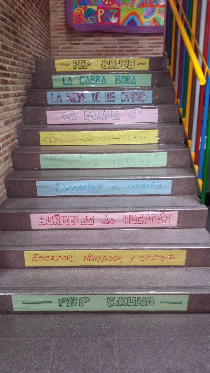 escalera lectora sobre el escritor narrador y cuentista pep bruno realizada para la biblioteca escolar