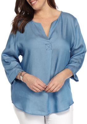 New Directions Women's Plus Size Tencel Popover Blouse - Chambray - 2X