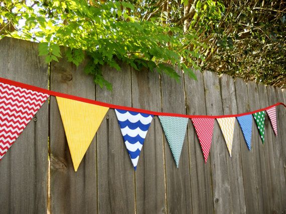 Chevron+Classroom+Primary+Color+Fabric+Bunting+by+PinkPopPolkaDot,+$30.00