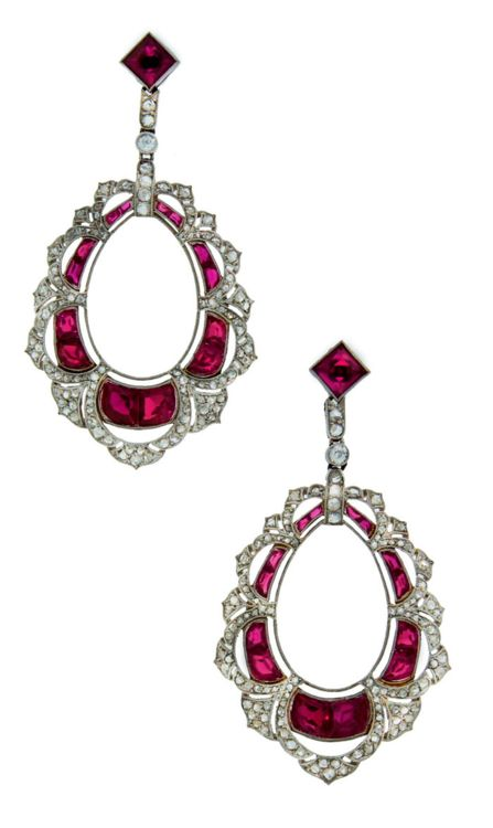 Art Deco Synthetic Ruby Diamond & Platinum Dangle Earrings. Gorgeous Art Deco c.1910's platinum earrings encrusted with synthetic rubies and rose cut diamonds.