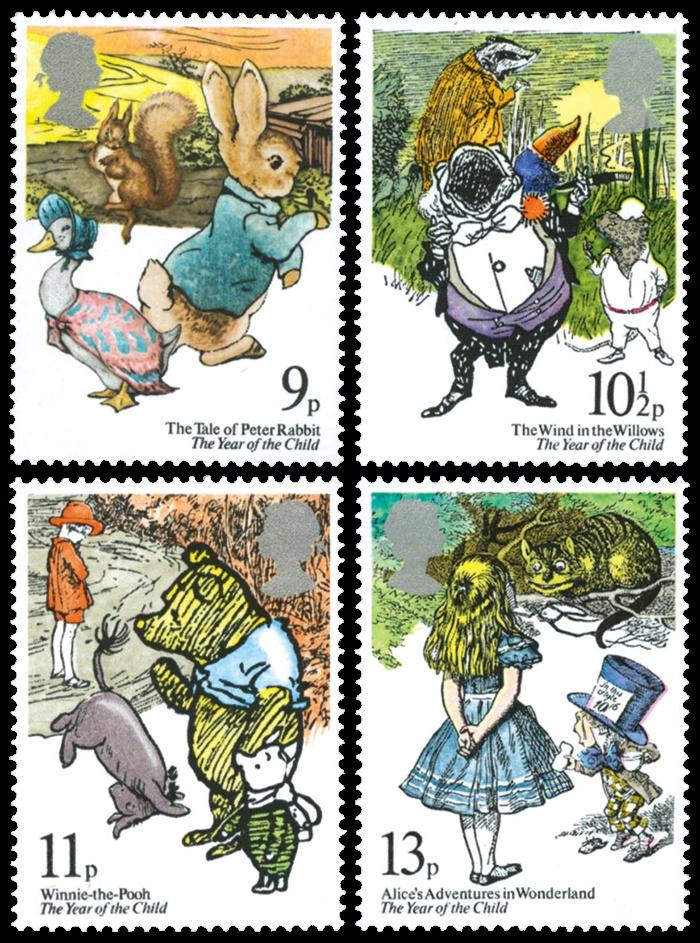 Stamp U.K. 1979 with children's books' illustrations!