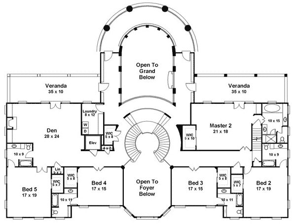 House plans with double staircase joy studio design gallery best design - Bed room house plan with stairs ...