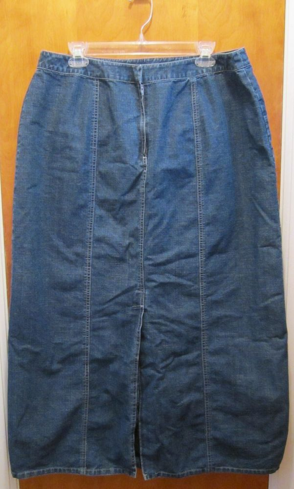 Modest Denim Skirt W34 L35 Long Stretch Embellished Brass ... |Western Long Denim Skirts Modest
