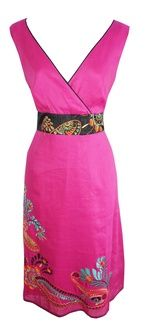 Fuschia pink v-neck frock with flower and sequin embroidery. Black satin sash belt which ties neatly at the back. Fully lined with side zip. Lovely and bright for the summer months paired with hot pink lipstick and wedged sandals or silver flip flops.