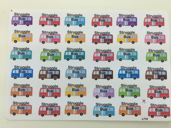 This sheet contains 36 struggle bus stickers. Stickers are slightly under 1 long and are approx. .6 high. Stickers are matte, removable, and reposition able.