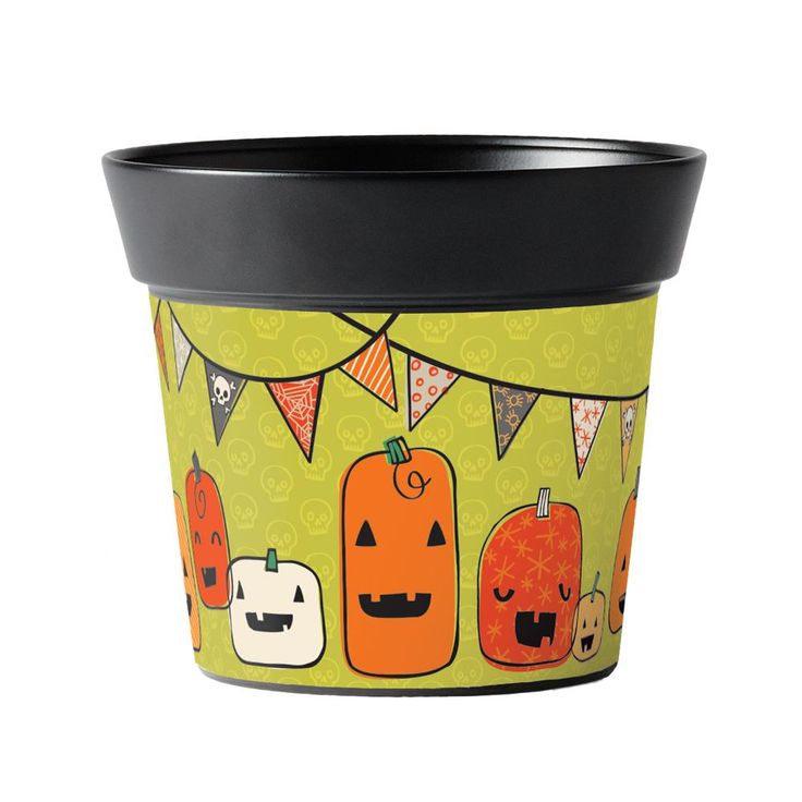 "Elizabeth Silver: Pumpkin Party 6"" Art Pot   Studio M Outdoor"