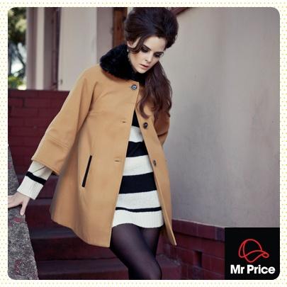 Melton coat and knit tunic