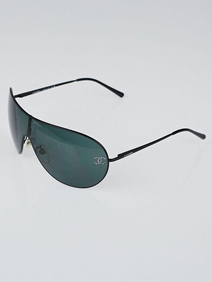 CHANEL Sunglasse Black New 4122B Vintage Swarovski With Case Authentic Aviator  #CHANEL
