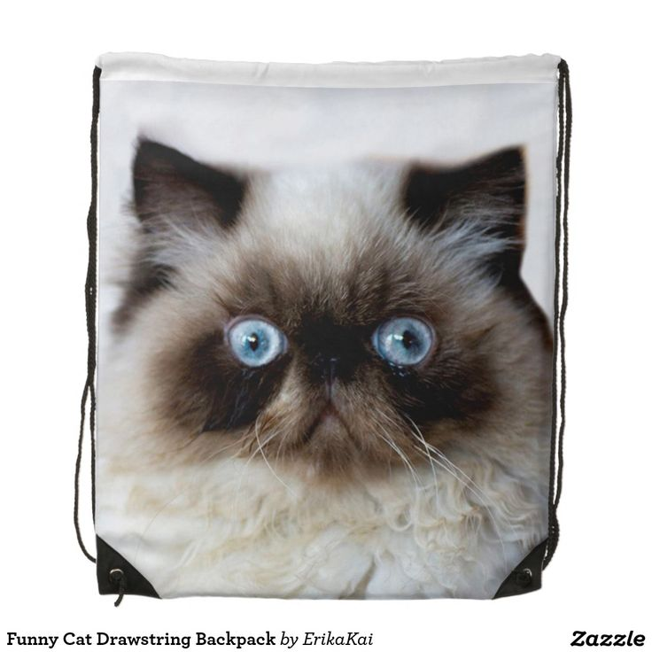 """Funny Cat Drawstring Backpack. 100% polyester. Dimensions: 14.75"""" x 17.3""""."""