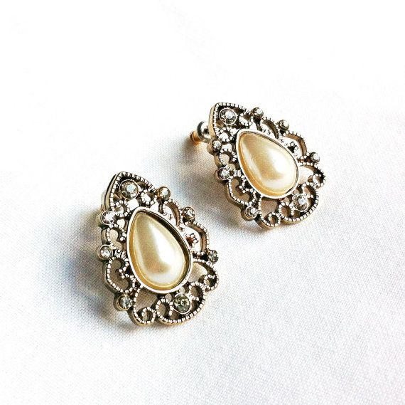 Antique Pearl Teardrop Post Earrings by LilyAndEllie.com, $16.00