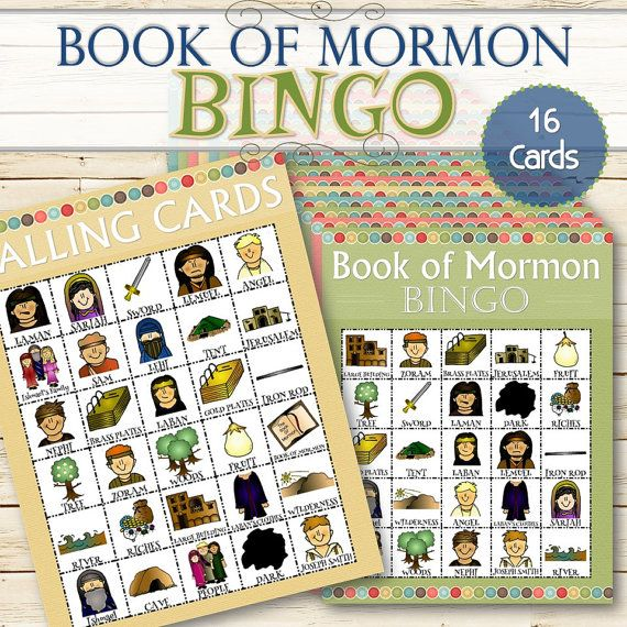 16 Book of Mormon Bingos INSTANT DOWNLOAD by TimeSavors on Etsy