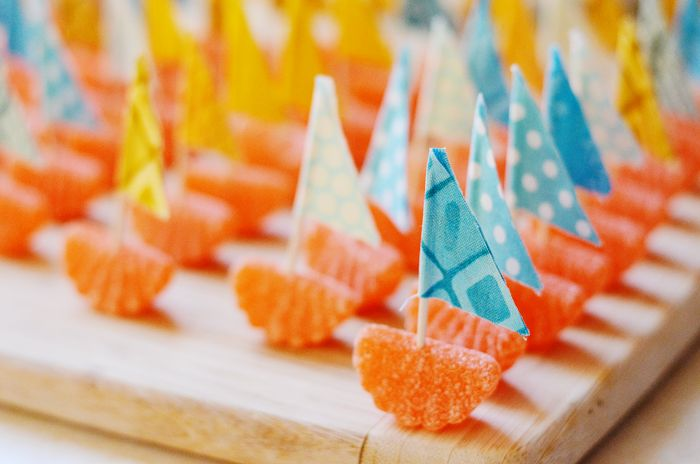 nautical orange slice boats - these are so cute if we could find them in our colors