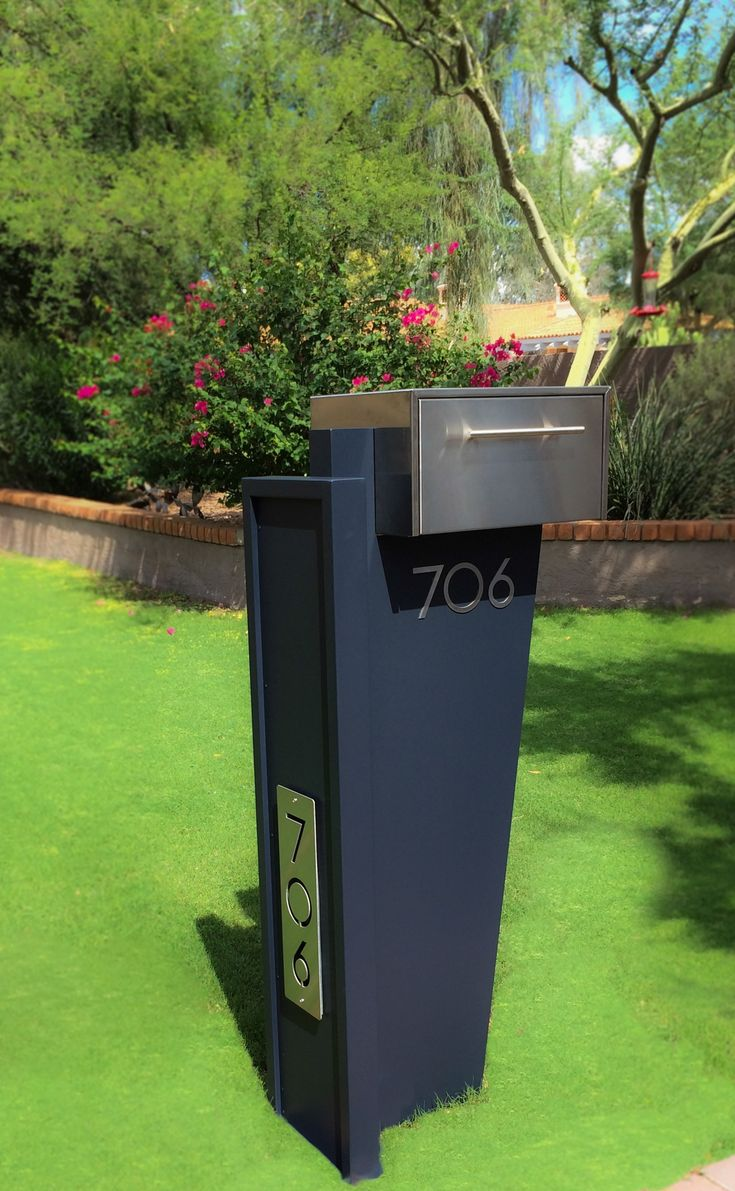 Contemporary Stainless Steel Mailbox with LED Address Plaque http://www.mailboxmd.com/