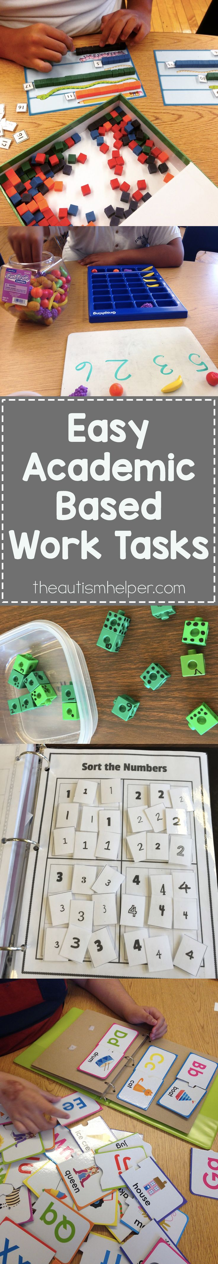 We're sharing some of our favorite ways to sneak academics into basic level work tasks on the blog. From theautismhelper.com #theautismhelper