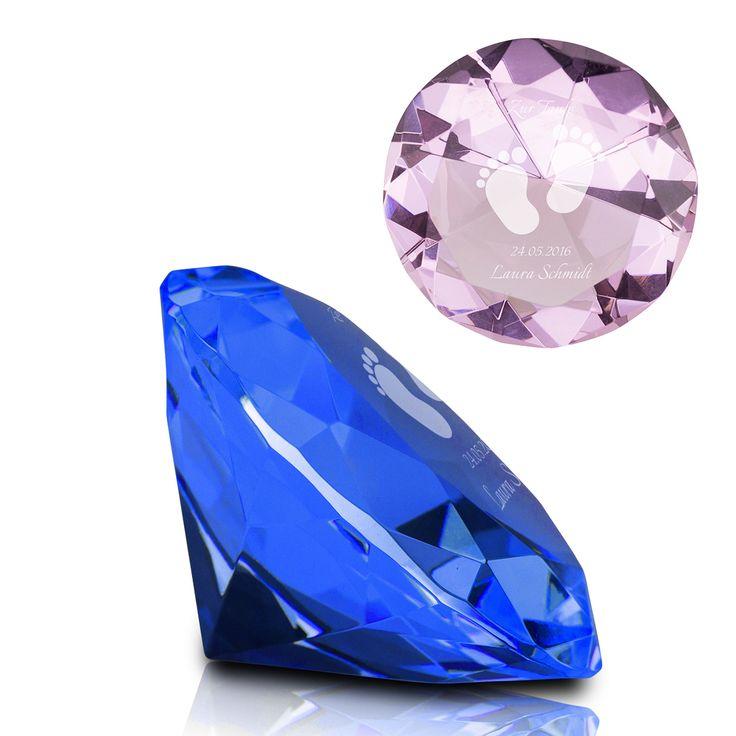 Kristall Diamant mit Gravur zur Geburt #Geburt #Diamant